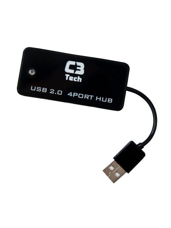 Hub Usb 4 Portas Hu-201 Bk Preto C3Tech