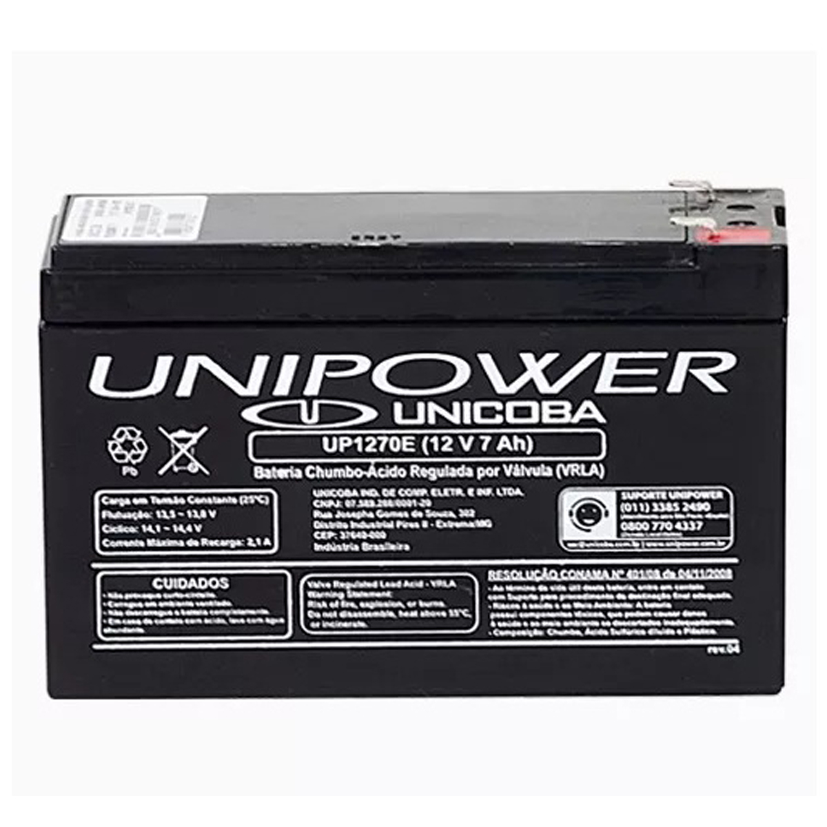 Bateria Selada 07Ah12V Estacionaria Unipower