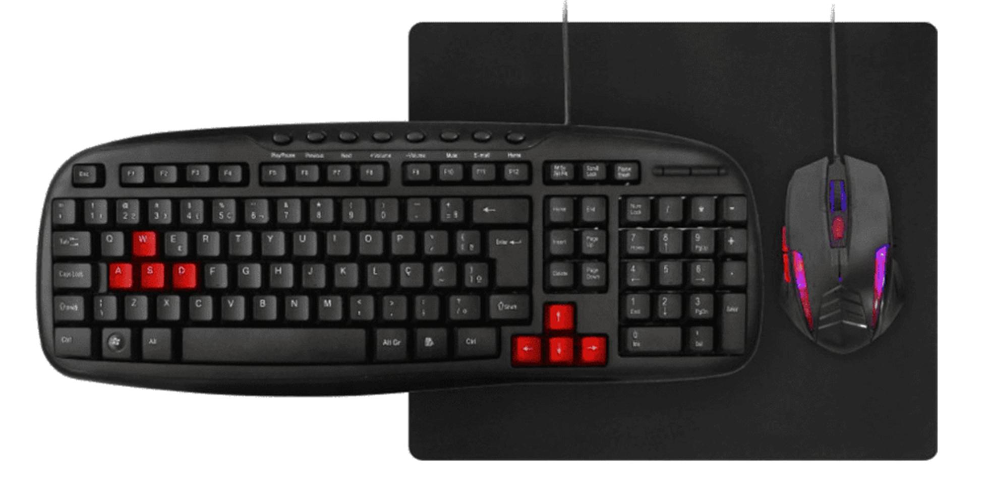 Kit Gamer Tec, Mouse, Mouse Pad C, Fio Km1328 K-Mex