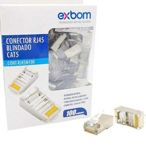 Conector Rj45 Blindado Cat5-C, 100  Rj45M100 Exbom