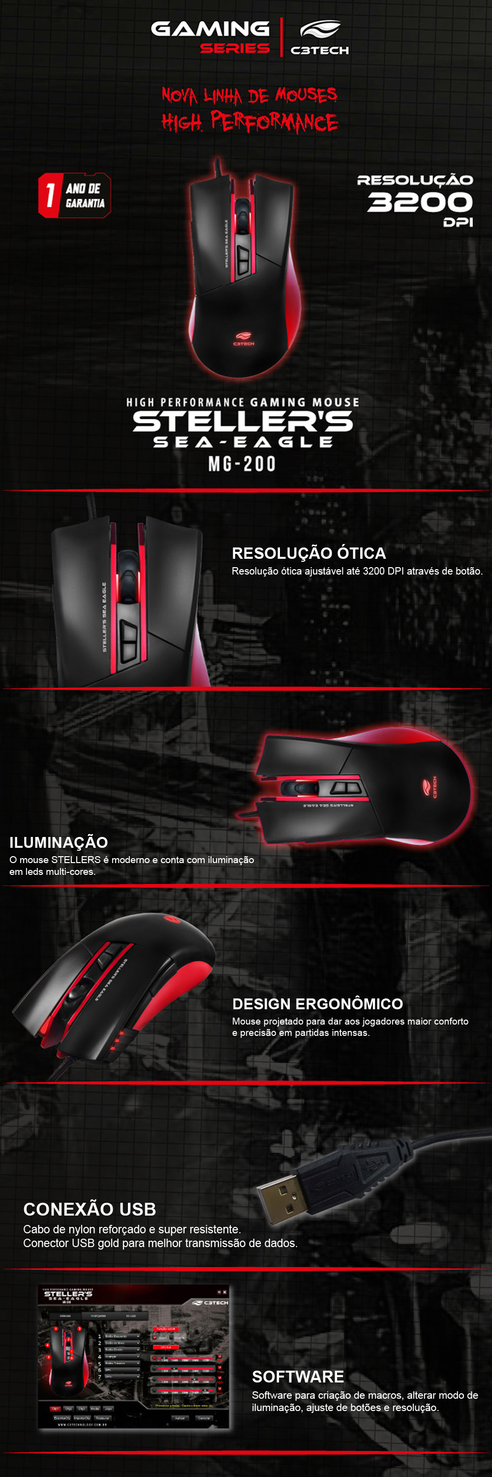 Mouse Optico Usb Gamer C3Tech Stellers Mg-200 Rd | Offcomp.com.br